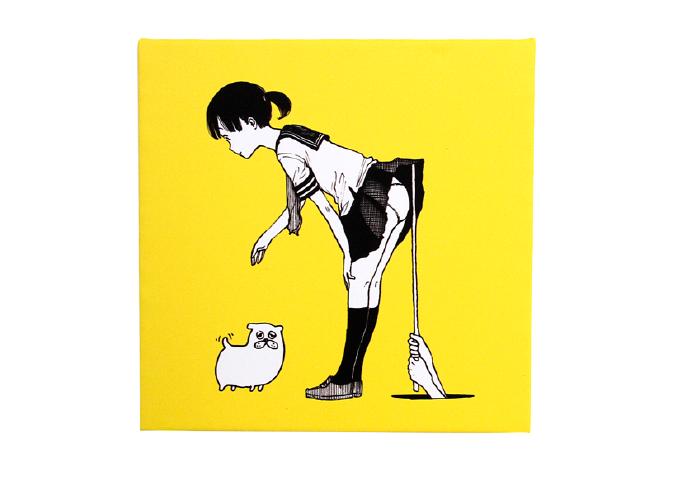 テキスタイルパネル「パンツちゃん(黄)」(正方形)
