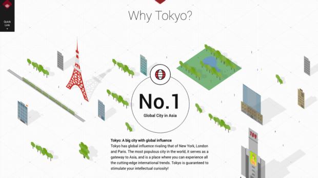 『WHY WASEDA?』では、スクロールしていくと、次々と東京を現すモチーフやピクトグラムが現れる